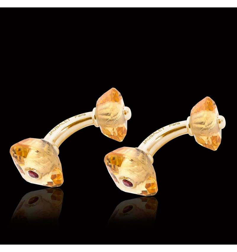 Cufflinks Yellow Gold Silver Gilt Citrine Aranea