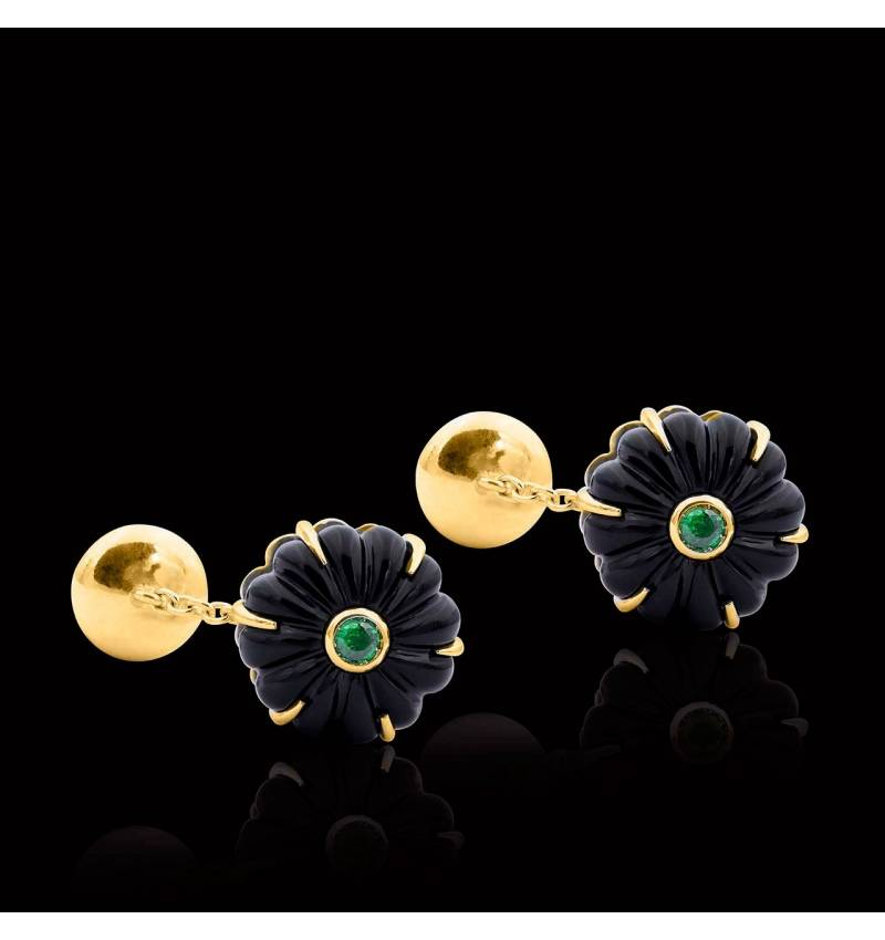 Cufflinks Yellow Gold Silver Gilt Onyx Bellis