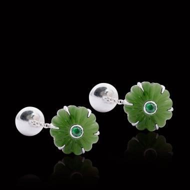 Boutons de manchette argent palladié jade Bellis