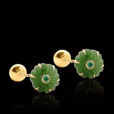 Boutons de manchette or jaune vermeil jade Bellis