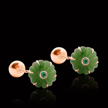 Boutons de manchette or rose vermeil jade Bellis