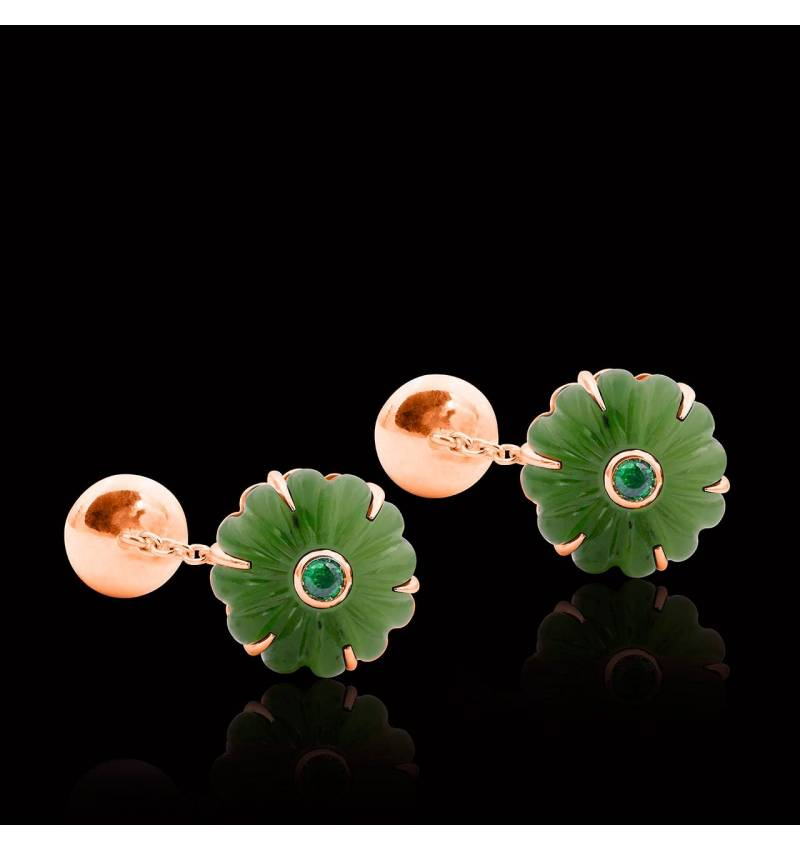 Cufflinks Pink Gold Silver Gilt Jade Bellis