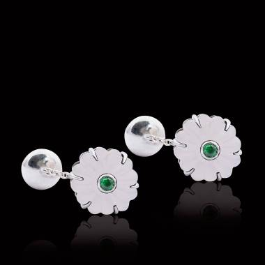 Cufflinks Paladium-Plated Silver Rock Crystal Bellis