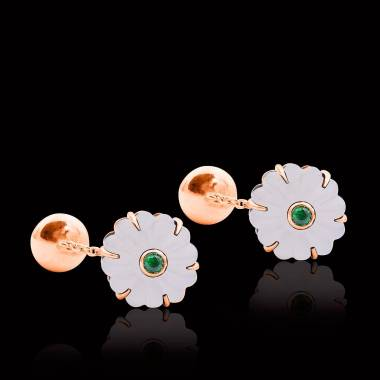 Cufflinks Pink Gold Silver Gilt Rock Crystal Bellis