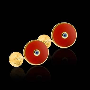 Cufflinks Yellow Gold Silver Gilt Carnelian Circus