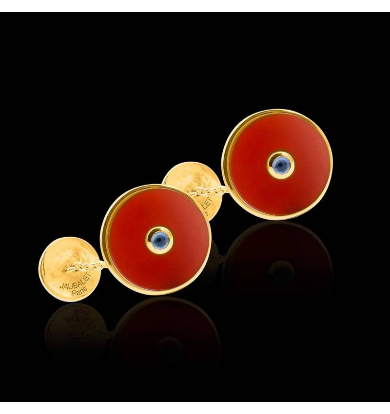 Cufflinks Yellow Gold Silver Gilt Carnelian Circus