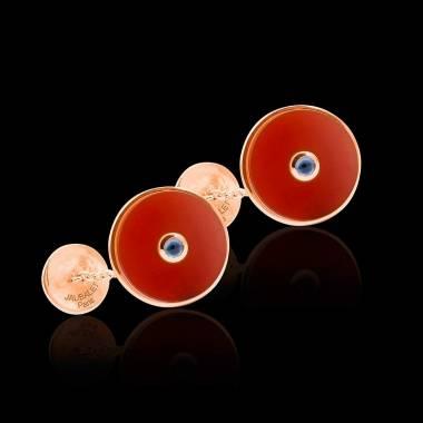 Cufflinks Pink Gold Silver Gilt Carnelian Circus