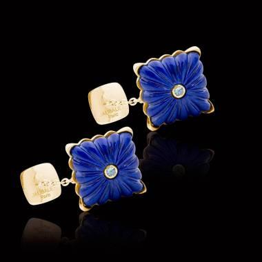 Cufflinks Yellow Gold Silver Gilt Lapis Lazuli Crustulum