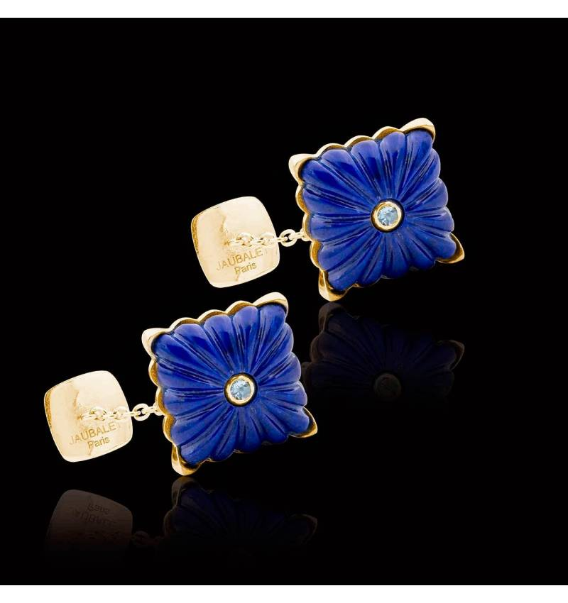 Cufflinks Yellow Gold Silver Gilt Lapis Lazuli Crustulum