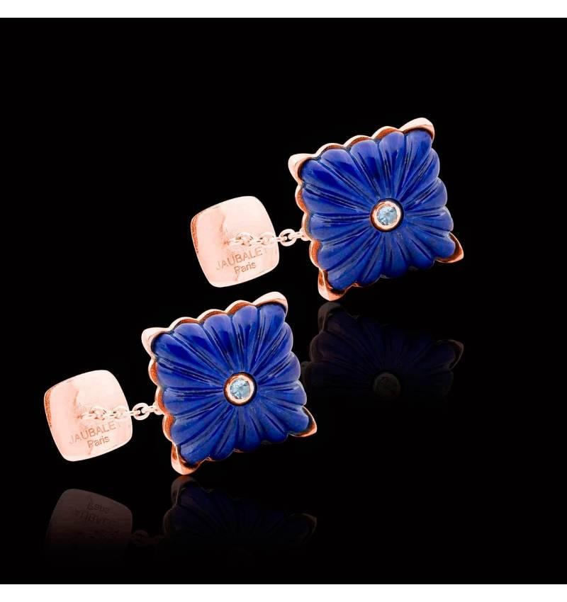 Cufflinks Pink Gold Silver Gilt Lapis Lazuli Crustulum