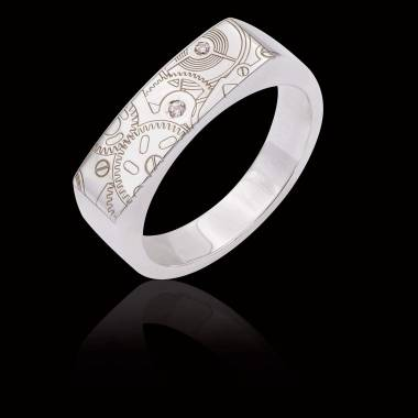 Bague homme Or blanc Complications