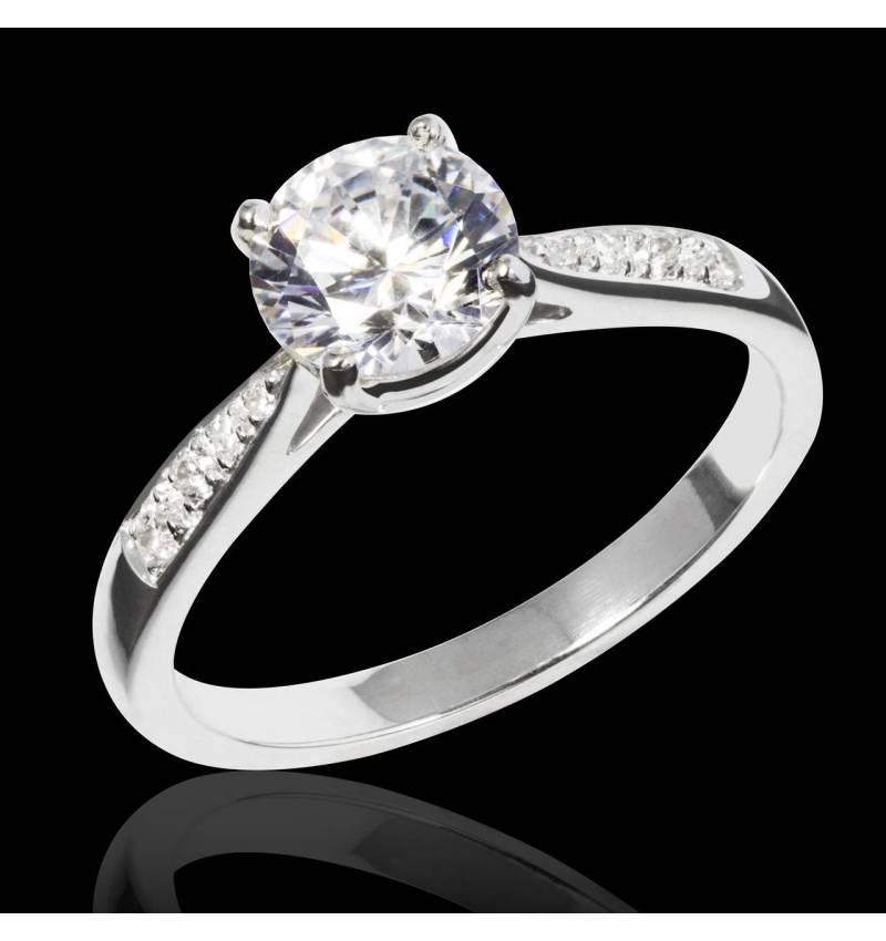 Diamond Engagement Ring Diamond Paving White Gold Angela