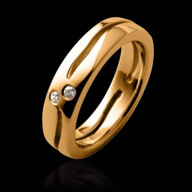 Diamond Wedding Band Yellow Gold Etoiles Filantes