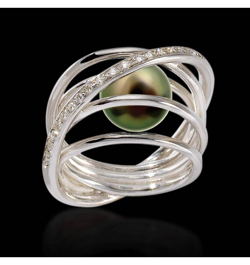 Black Pearl Engagement Ring Diamond Paving White Gold Cache Cache