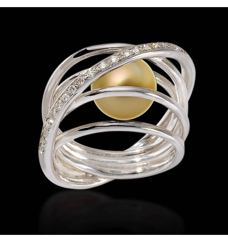 Gold Pearl Engagement Rings Diamond Paving White Gold  Cache Cache