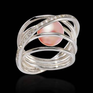 Pink Pearl Engagement Ring Diamond Paving White Gold Cache Cache