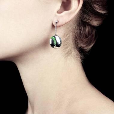 Emerald earrings Gold Quake