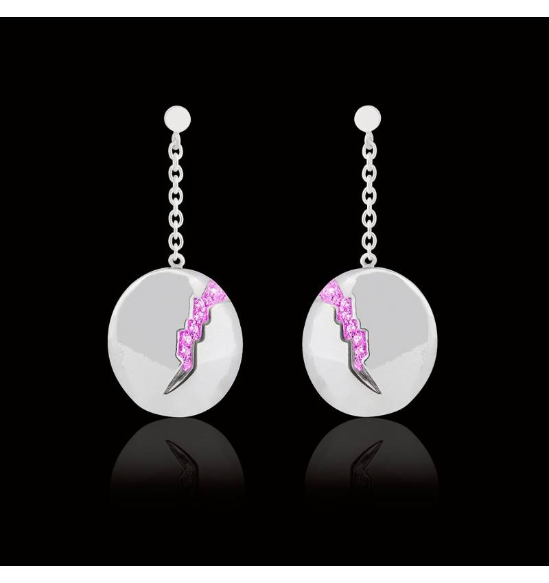 Pink Sapphire Earrings Gold Quake