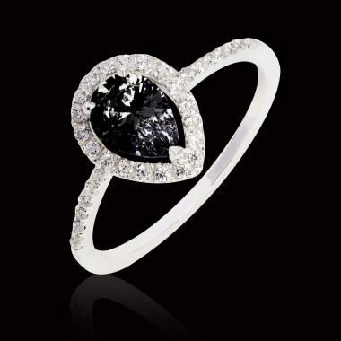 Sandra Pear Black Diamond Ring