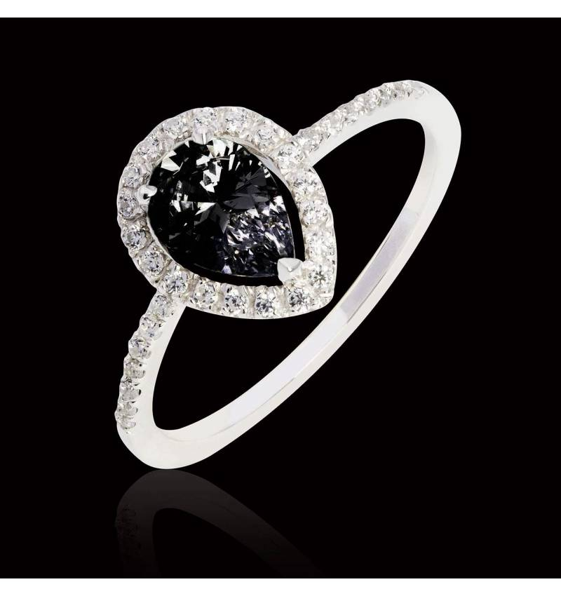 Sandra Pear Black Diamond Ring