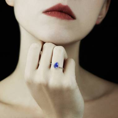 Sandra Pear Blue Sapphire Ring