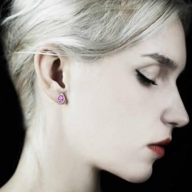 Boucles d'oreilles saphir rose poire soleil