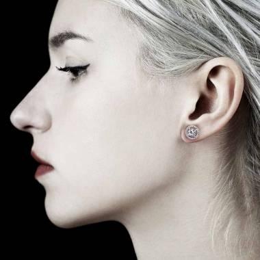 Boucles d'oreilles diamant soleil