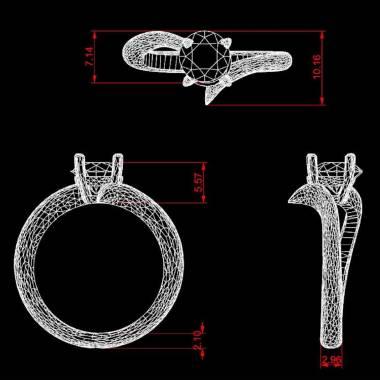 Diamond Engagement Ring White Gold Serpentine