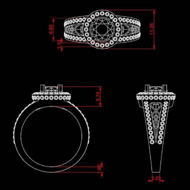 Pink Sapphire Engagement Ring Diamond Paving White Gold Tsarine