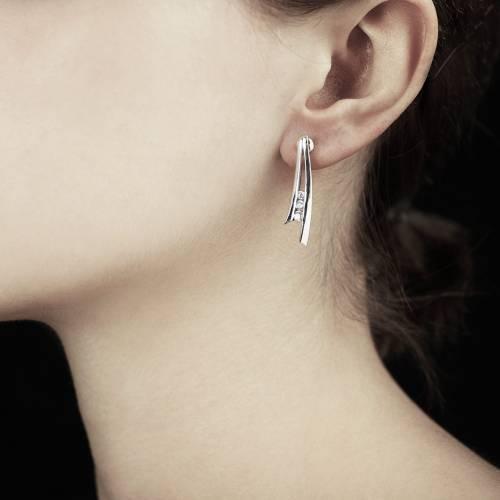 Boucles d'oreilles diamant Trilogie