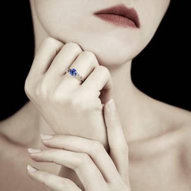 Bague saphir bleu Infinie solo
