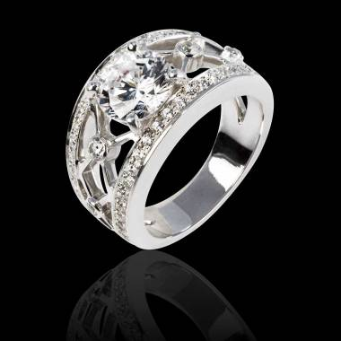 Diamond Engagement Ring Diamond Paving White Gold Rond Or Regina Suprema