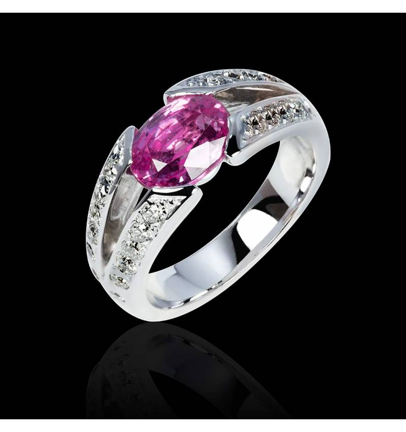Pink Sapphire Engagement Ring Diamond Paving White Gold Isabelle