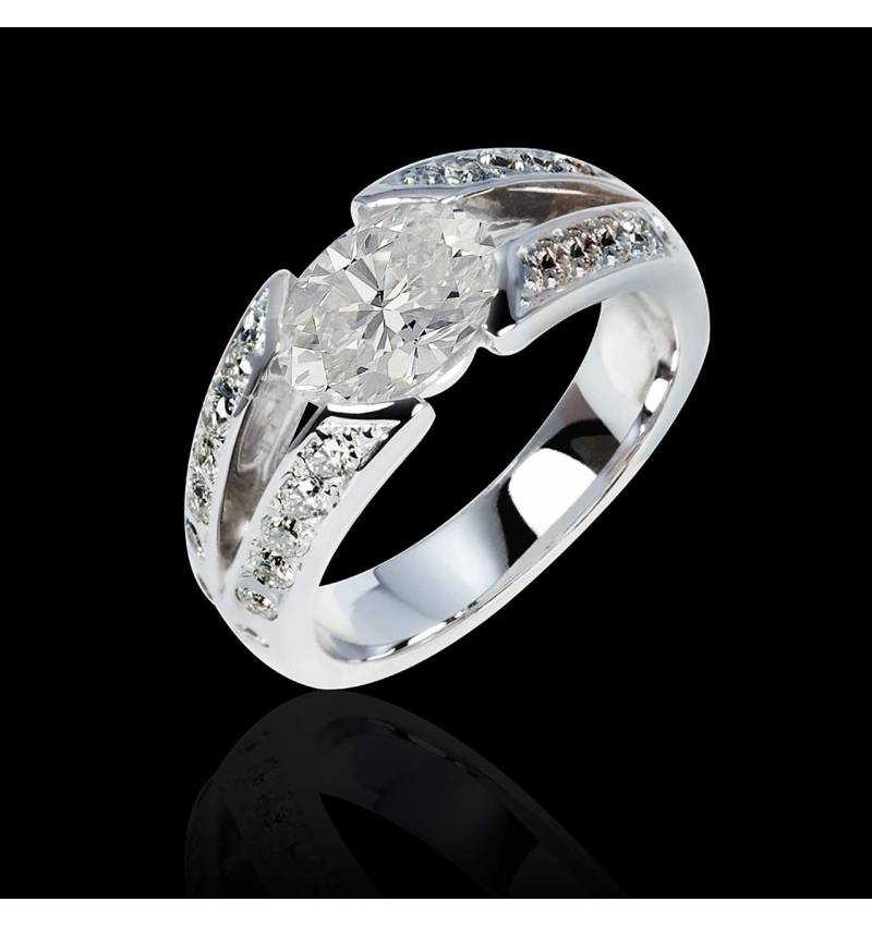 Diamond Engagement Ring Diamond Paving White Gold Isabelle