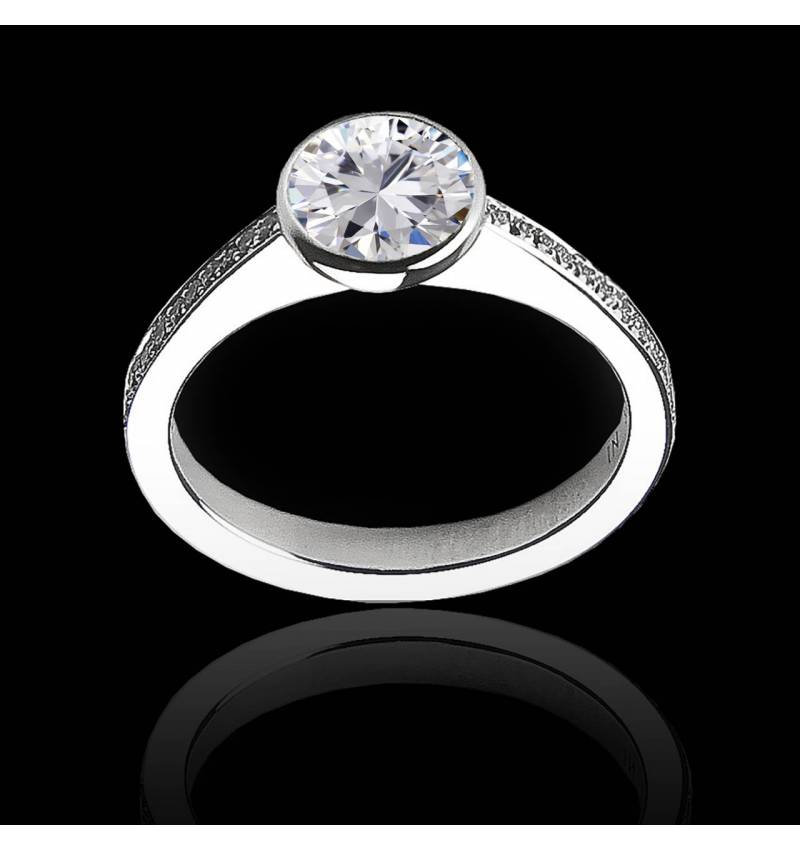 Diamond Engagement Ring White Gold Moon