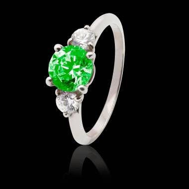 Emerald Engagement Ring White Gold Nayla