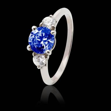 Blue Sapphire Engagement Ring White Gold Nayla