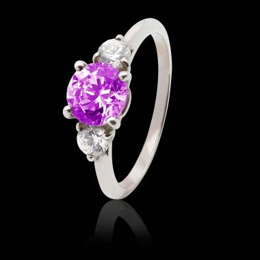 Pink Sapphire Engagement Ring White Gold Nayla