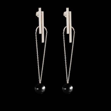 Boucles d'oreilles Art déco chaîne perle noire Tahiti