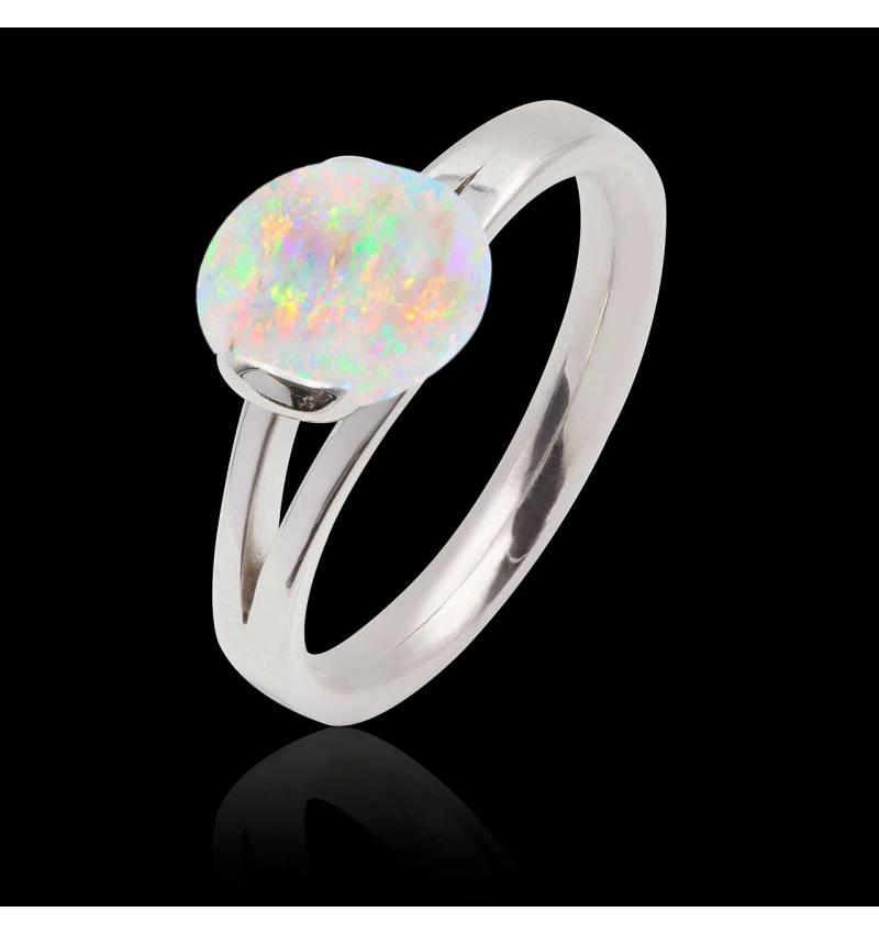 Bague opale blanche Florine