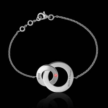 Bracelet rubis Double Anneau