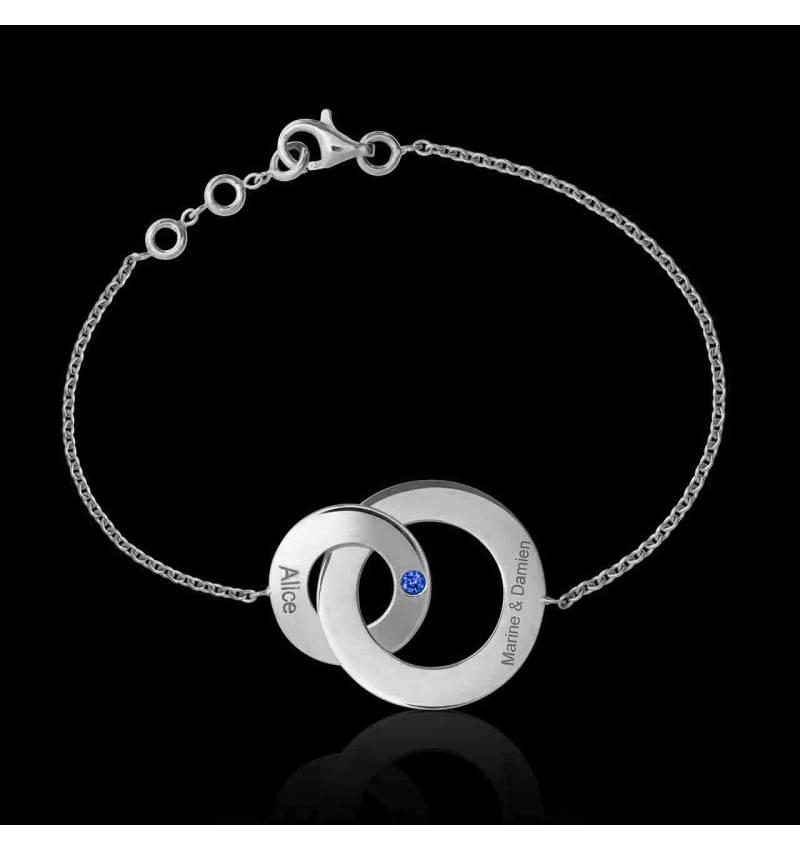 Bracelet saphir bleu Double Anneau
