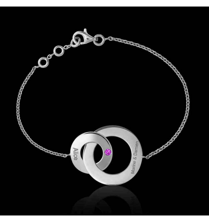 Bracelet saphir rose Double Anneau