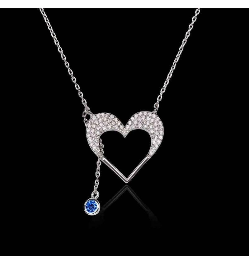 Pendentif saphir bleu Coeur d'Amour