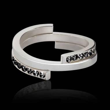 Bague diamant noir Encastrée