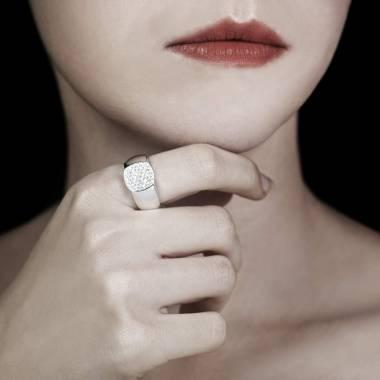 Chevalière femme or blanc Massimiliano