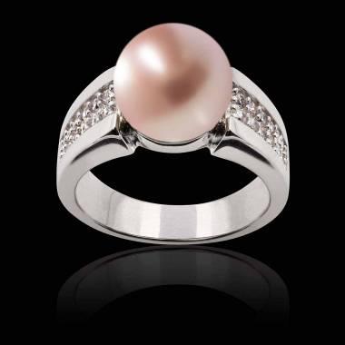 Bague perle rosée Aya