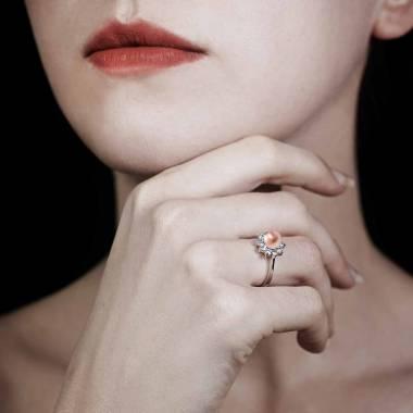Bague perle rosée Ambrosia