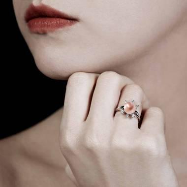 Bague perle rosée Louna