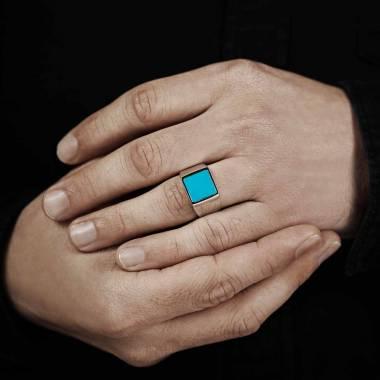 Men's Signet Ring Platinium...